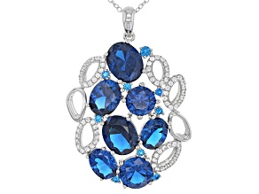 Blue Lab Created Spinel Sterling Silver Pendant With Chain 13.65ctw
