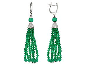 Green Onyx Sterling Silver Tassel Earrings .21ctw