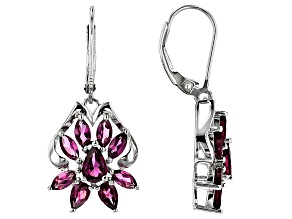 Raspberry Color Rhodolite Silver Earrings 3.65ctw