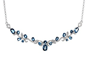 Blue London Blue Topaz Silver Necklace 4.70ctw