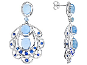 Blue lab spinel rhodium over silver earrings 1.12ctw