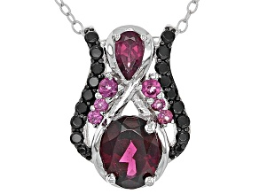 Raspberry Color Rhodolite Sterling Silver Pendant With Chain 2.11ctw