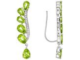 Green Peridot Sterling Silver Climber Earrings 10.70ctw