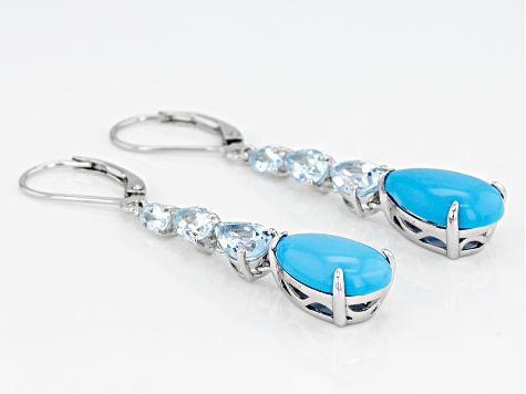 Blue Turquoise Rhodium Over Sterling Silver Earrings 3.23ctw