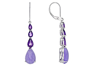 Purple Chalcedony Sterling Silver Earrings 2.23ctw