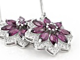 Raspberry Color Rhodolite Rhodium Over Sterling Silver Floral Earrings 5.47ctw