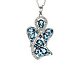 London Blue Topaz Sterling Silver Angel Pendant With Chain 2.09ctw