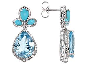Sky Blue Topaz Sterling Silver Earrings 20.63ctw