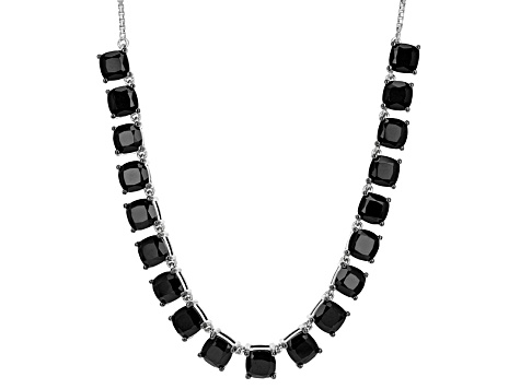 Black Spinel Sterling Silver Bolo Necklace 21.96ctw
