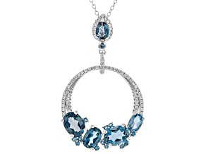 Blue Topaz Sterling Silver Pendant With Chain 5.22ctw