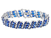 Blue Lab Created Spinel Sterling Silver Bracelet 22.66ctw