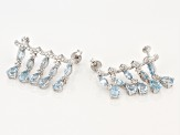 Sky Blue Topaz Sterling Silver Climber Earrings 6.78ctw