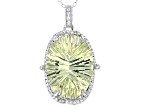 Yellow Quartz Sterling Silver Pendant With Chain 14.33ctw
