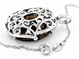 Brown Smoky Quartz Sterling Silver Pendant With Chain 14.32ctw