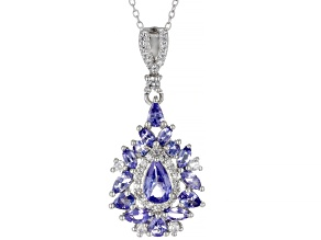 Blue Tanzanite Rhodium Over Sterling Silver Pendant With Chain 2.58ctw