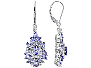 Blue tanzanite rhodium over silver dangle earrings 3.91ctw