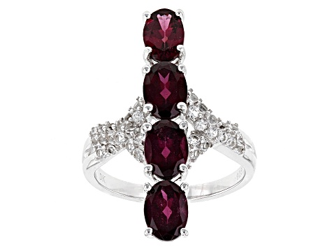 Purple Rhodolite Sterling Silver Ring 3.88ctw
