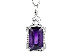 Purple Amethyst Sterling Silver Pendant With Chain 8.36ctw