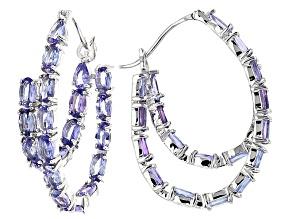 Blue Tanzanite Sterling Silver Double Hoop Earrings 8.16ctw