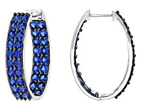 Blue Lab Created Spinel Silver Hoop Earings 8.93ctw