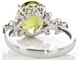 Green Peridot Sterling Silver Ring 3.71ctw