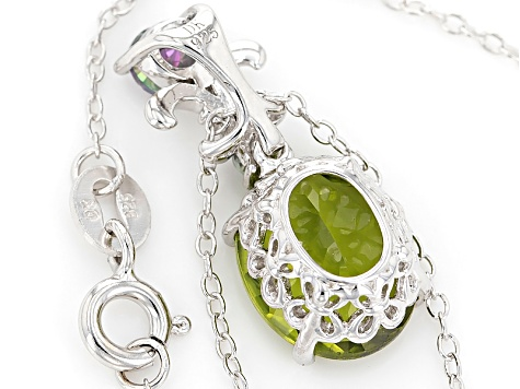 Green Peridot Sterling Silver Pendant With Chain 3.71ctw