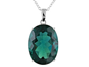 Blue Fluorite Sterling Silver Pendant With Chain 18.70ct