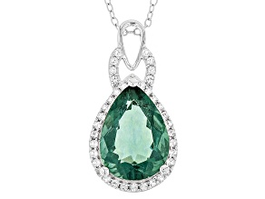 Teal Fluorite Sterling Silver Pendant With Chain 5.81ctw