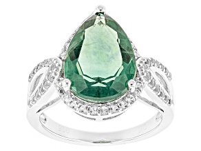 Teal Fluorite Sterling Silver Ring 5.92ctw