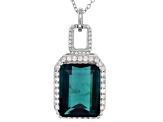 Blue Teal Fluorite Sterling Silver Pendant With Chain 13.18ctw
