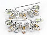 White Cultured Freshwater Pearl Silver Climber Earrings 7.15ctw