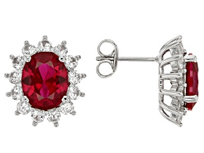 Red Lab Created Ruby Rhodium Over Sterling Silver Earrings 7.11ctw