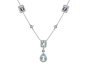 Sky Blue Topaz Sterling Silver Necklace 8.45ctw