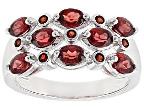 Red Garnet Sterling Silver Ring 1.70ctw