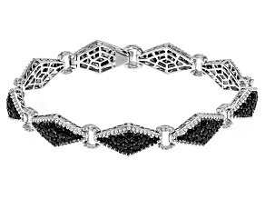 Black Spinel Sterling Silver Bracelet 7.07ctw