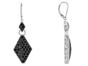 Black Spinel Sterling Silver Earrings 4.09ctw