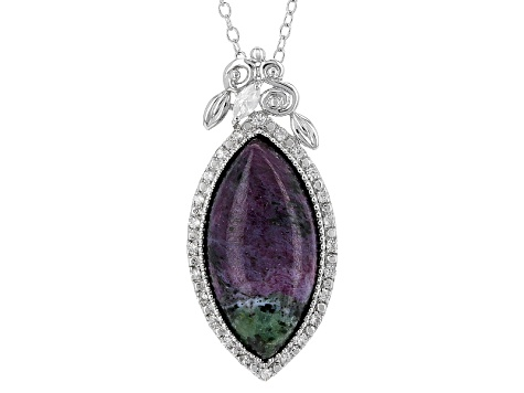 Red Ruby Zoisite Sterling Silver Pendant With Chain .30ctw