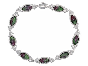 Red Ruby Zoisite Sterling Silver Bracelet .61ctw