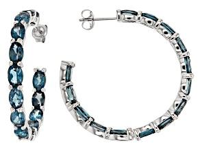 London Blue Topaz Silver inside/Outside Hoop Earrings 13.80ctw