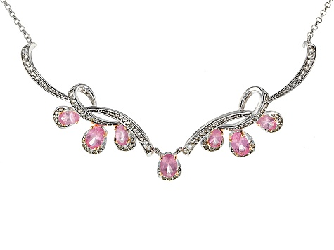 Pink Spinel Sterling Silver Necklace 2.90ctw
