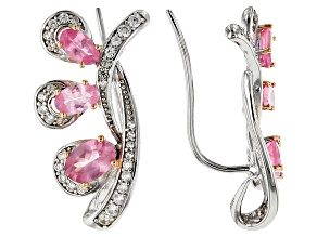 Pink Spinel Sterling Silver Climber Earrings 2.38ctw