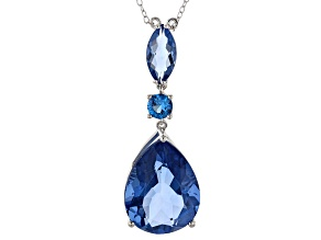 Blue Color Change Fluorite Sterling Silver Pendant With Chain 18.93ctw