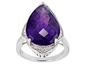 Purple Amethyst Sterling Silver Ring 8.50ctw
