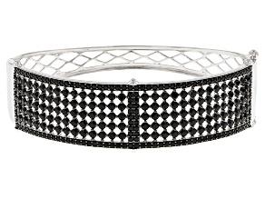 Black Spinel Sterling Silver Bangle Bracelet 9.59ctw
