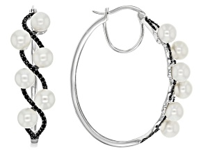 White Cultured Freshwater Pearl Silver Hoop Earrings .65ctw