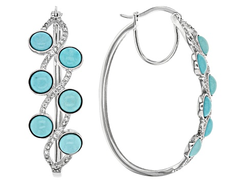 Blue Turquoise Sterling Silver Hoop Earrings .76ctw