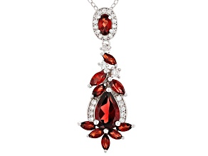 Red Garnet Sterling Silver Pendant With Chain 2.87ctw