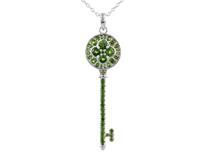 Green Chrome Diopside Sterling Silver Key Pendant With Chain 1.06ctw
