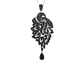 Black Spinel Sterling Silver Pendant With Chain 8.43ctw