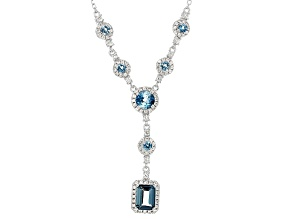 Blue London Blue Topaz Silver Necklace 4.55ctw